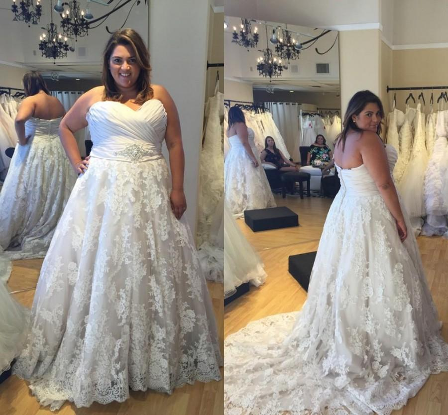 Real Picture Plus Size Wedding Dresses Sweetheart Custom Made Lace ...
