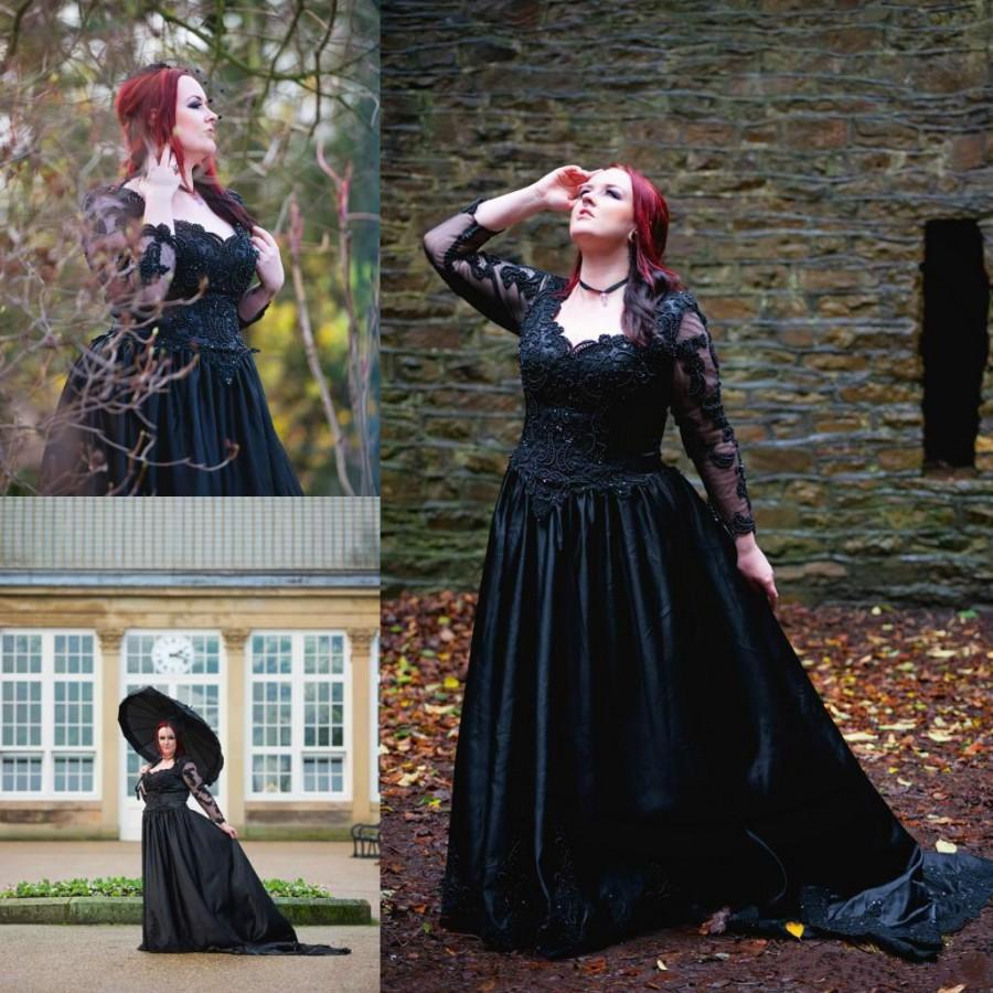 New Style Black Gothic Plus Sizes Wedding Dresses With Illusion Long ...