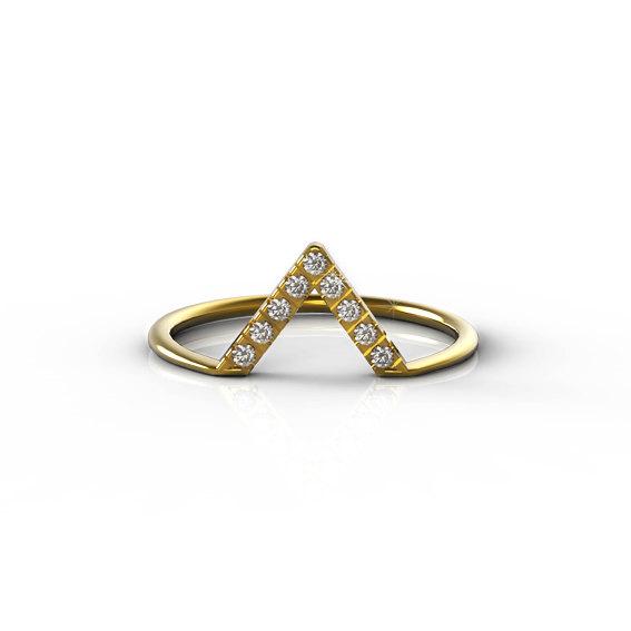 Свадьба - Diamond V Ring, Chevron Diamond Ring, Modern Engagement Ring, Stacked V Ring, Dainty  Wedding Ring.