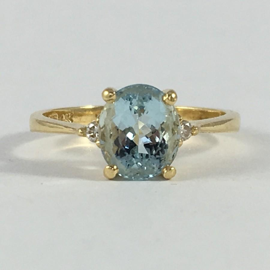 Свадьба - Vintage Aquamarine and Diamond Ring. 14k Yellow Gold. Unique Engagement Ring. March Birthstone. 19th Anniversary Gift. Estate Jewelry