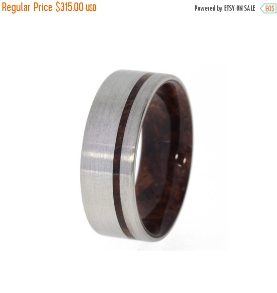 Свадьба - Wedding Sale Titanium Ring with an inner Bolivian Rose Wood sleeve and Wood Pinstripe, Ring Armor Included