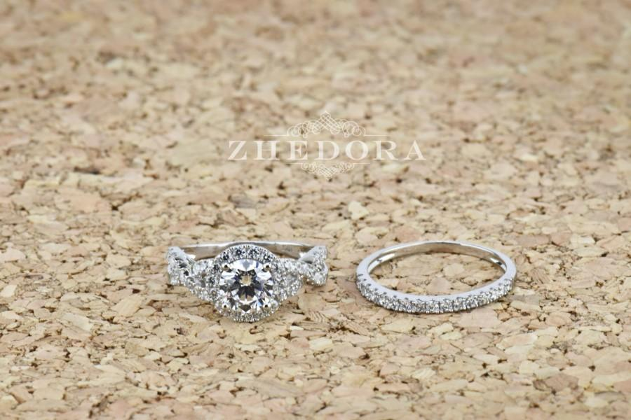 Свадьба - 2.25 CT Round Cut Engagement Ring band set in Solid 14k or 18k White Gold Bridal, Wedding Set , Engagement Set, Wedding band