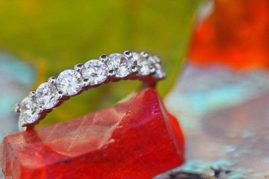 Свадьба - 1.50 CT pave set Wedding Engagement Band Ring Solid Real 14k or 18k White Gold , Amorphous Lab Created Diamond Bridal Band