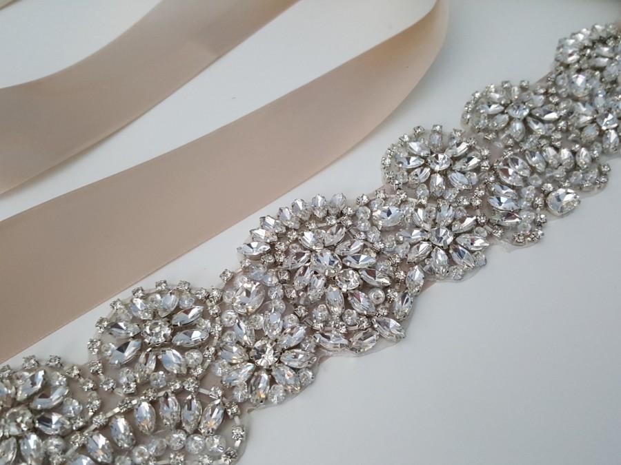 Mariage - Beaded bridal sash crystal wedding belt sash, Style 188