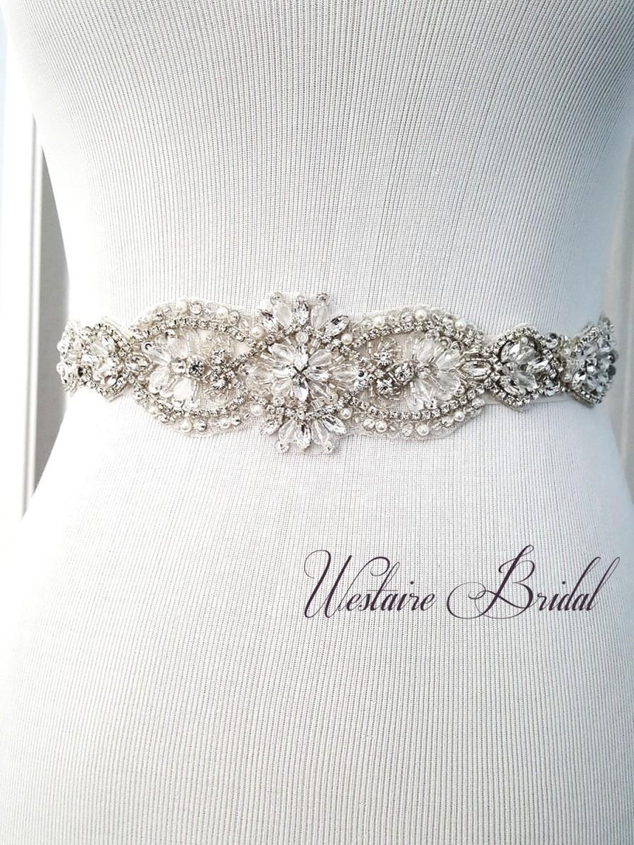 Mariage - Rustic Wedding Sash Beaded bridal sash crystal wedding belt sash, Rustic Bride Style 181