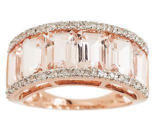 400 ct tw channel set morganite diamond ring 14k qvccom - Qvc Wedding Rings