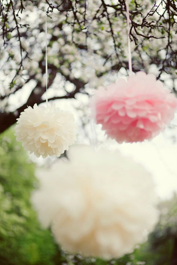 Свадьба - 12 LARGE And 6 SMALL Tissue Paper Pom Poms - Wedding Decorations/ Pick Your Colors From 64 Shades - Very Fluffy