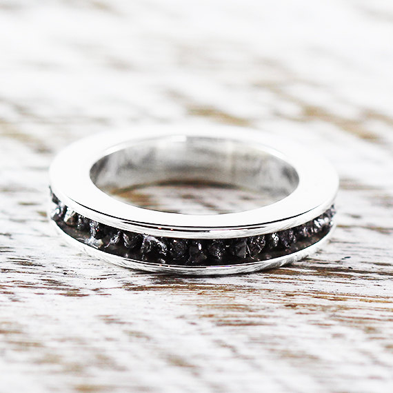 Hochzeit - Diamond Ring Band Sterling Silver Black Uncut Rings Personalized Engraved