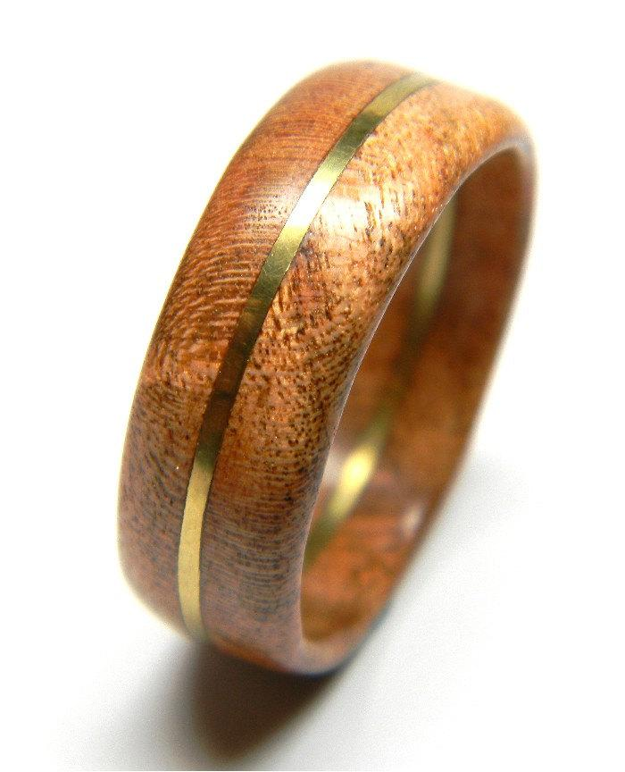 Wedding - Ready to Ship - Size 9.5 - Hand Carved Cherry Ring - Wedding Band - Engagement Ring -  Wood Ring - Men's Ring - Gift - For Him - Brass Ring