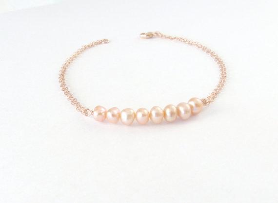 Wedding Jewelry Pearl Bracelet Bridesmaid Gift Blush Freshwater Rose Gold