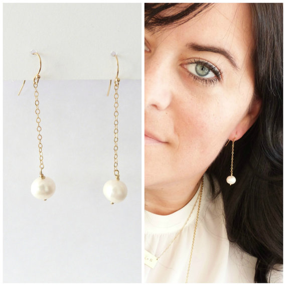 Pearl Drop Earrings Bridesmaid Gift Freshwater Jewelry Gold Dangle
