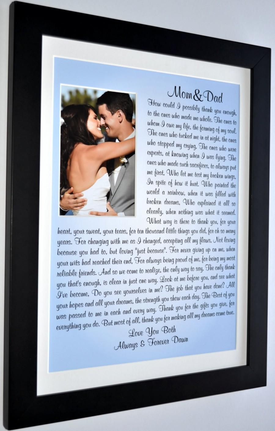 Wedding Gifts For Parents In Law : WeddingWedding gifts for parents: thank you parents of the bride ...