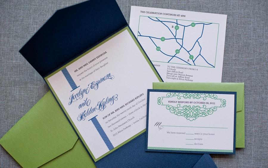 contemporary pocket wedding invitation suite navy wedding