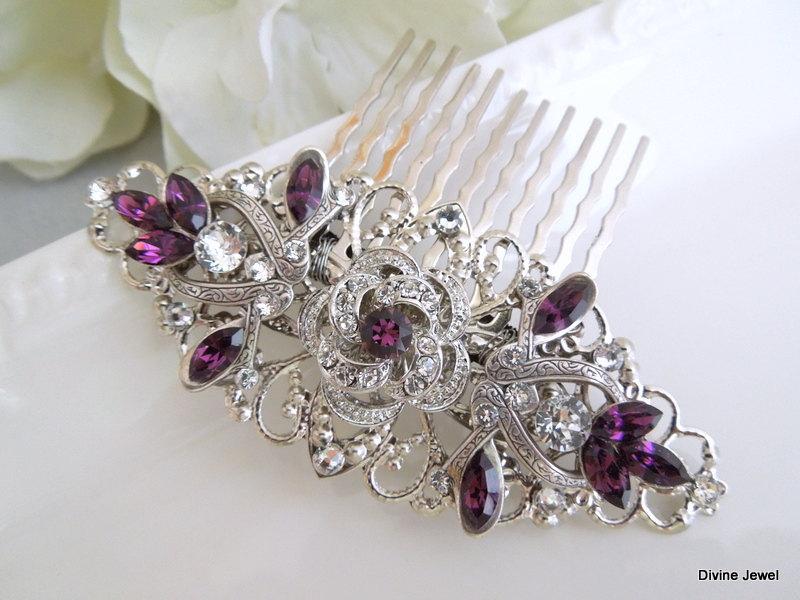 Hochzeit - Bridal Rhinestone Hair Comb,Wedding Rhinestone Hair Comb,Rose Swarovski Hair Comb,Purple Swarovski Crystals,Purple Hair Comb,Rose,ROSELANI