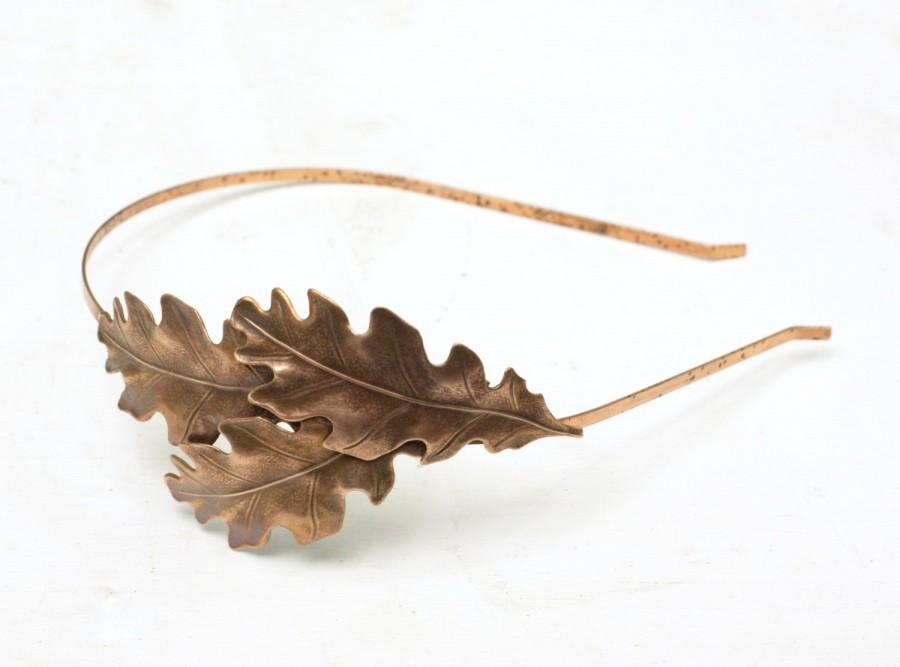 Hochzeit - Oak leaf headband bridal antique copper finish nature autumn wedding hair leaves head piece