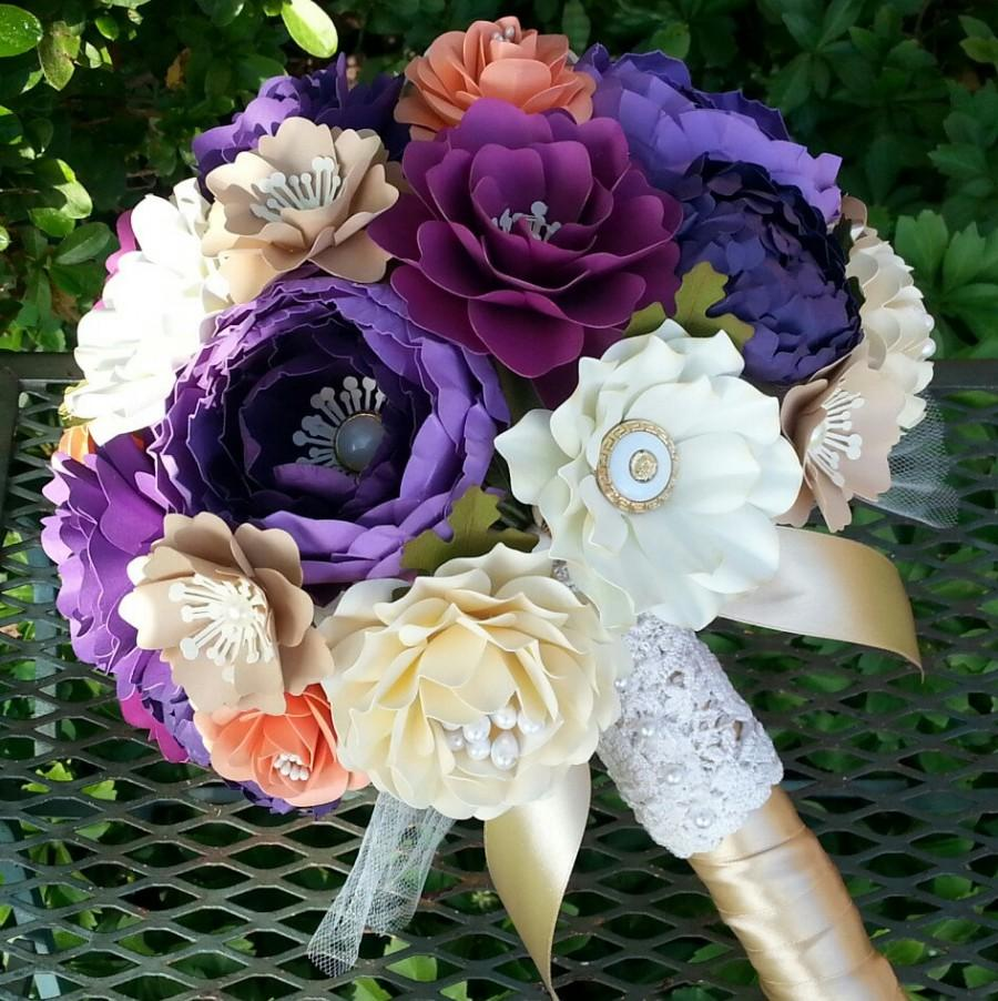 Mariage - Paper Bouquet - Paper Flower Bouquet - Wedding Bouquet - Shades of Purple with Coral and Cream - Custom Made - Any Color