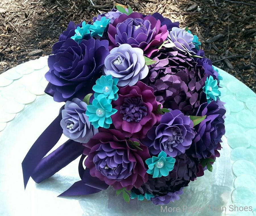 Mariage - Paper Bouquet - Paper Flower Bouquet - Wedding Bouquet - Shades of Purple with Aqua - Custom Made - Any Color