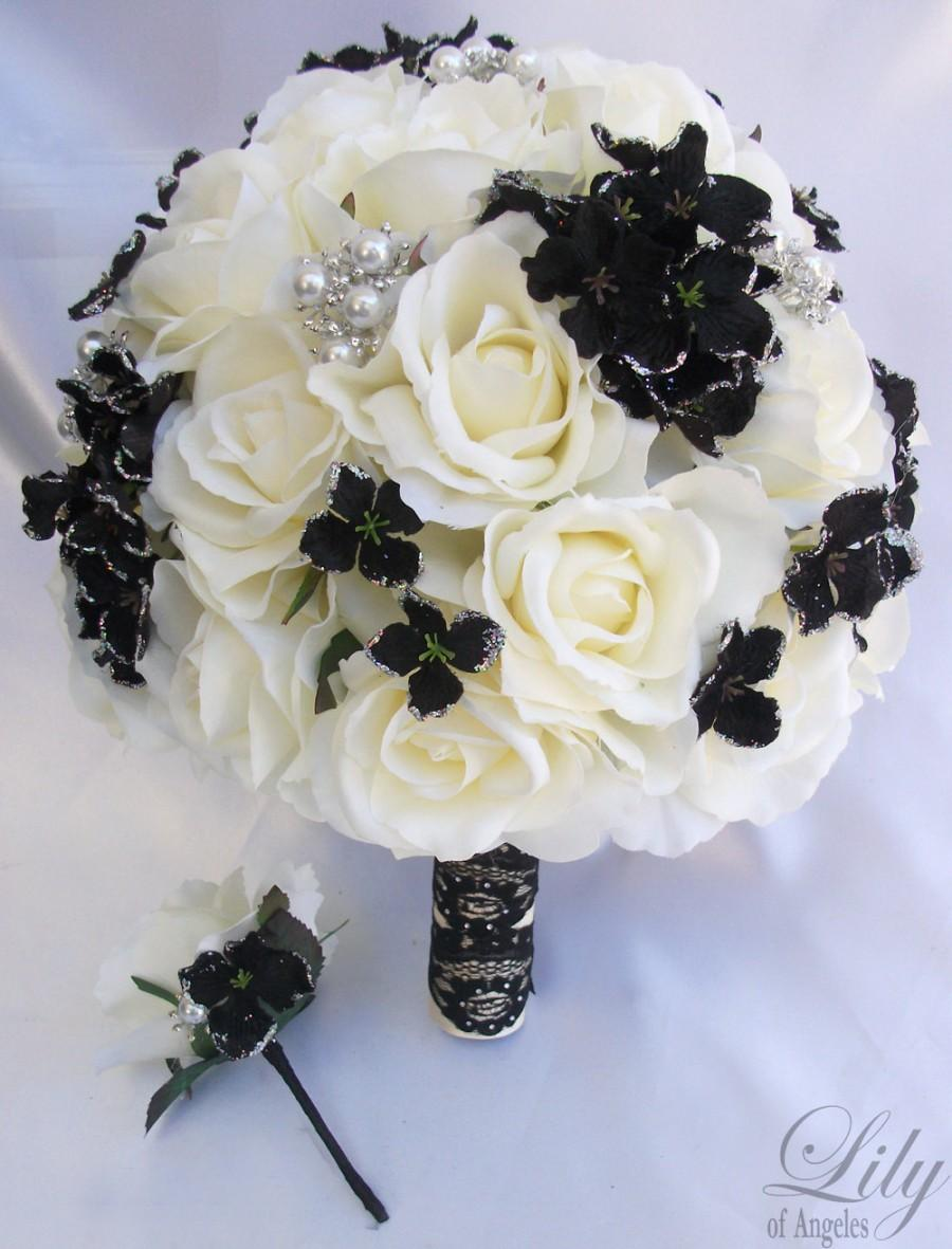 Mariage - 2pcs Wedding Bridal Bride Bouquet Groom Boutonniere w/Gem Jewelry IVORY BLACK