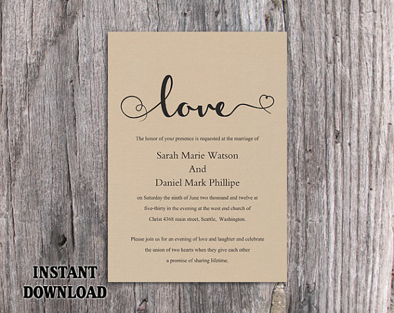 Mariage - DIY Burlap Wedding Invitation Template Editable Word File Download Printable Rustic Wedding Invitation Heart Invitation Elegant Love Invite