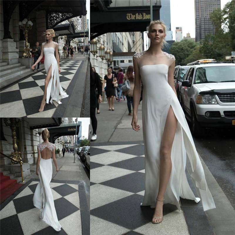 Свадьба - Elegant Inbal Dror Wedding Dresses Sheer Jewel Neckline Backless Thigh-High Splits Lace Ball Sexy BBridal Gowns Online with $93.46/Piece on Hjklp88's Store