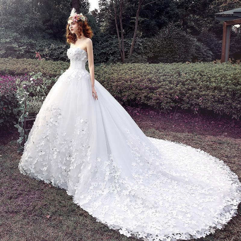 Wedding - Luxury Wedding Dresses 2016 Court Train White Lace Applique Beads Flower Strapless Custom Made Bridal Dresses Ball Gowns Online with $168.85/Piece on Hjklp88's Store