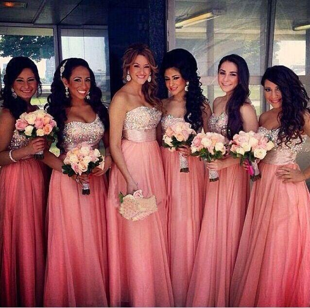 ccc8d0887e1 2016 Long Chiffon Bridesmaid Dresses Sweetheart Crystal Rhinestone Top  Backless Formal Evening Gowns Pageant Party Dresses Prom Dress BO9204 Online  with ...