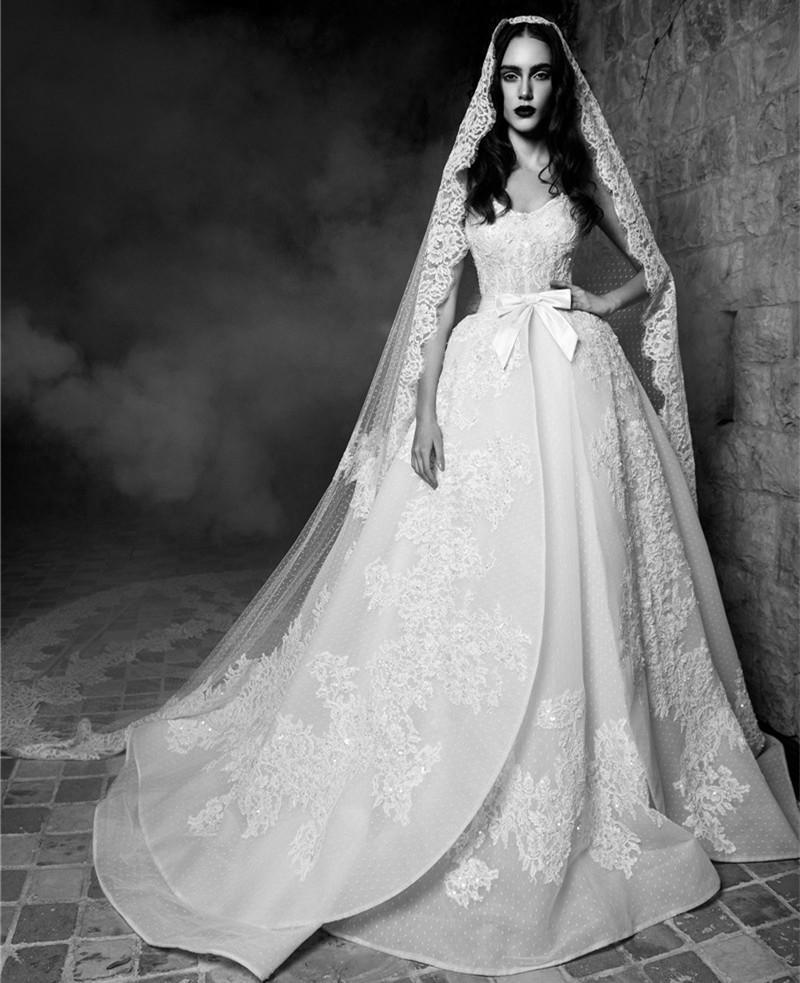 Zuhair murad 2016 wedding dresses with bow v neck applique for Detachable train wedding dresses