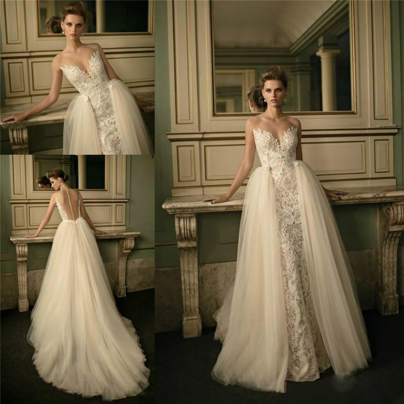 Wedding - Fashionable Berta Lace Wedding Dresses Applique Lace Sweetheart Neckline Sheer Back Bridal Ball Chapel Train Sleeveless Wedding Gown Online with $122.52/Piece on Hjklp88's Store