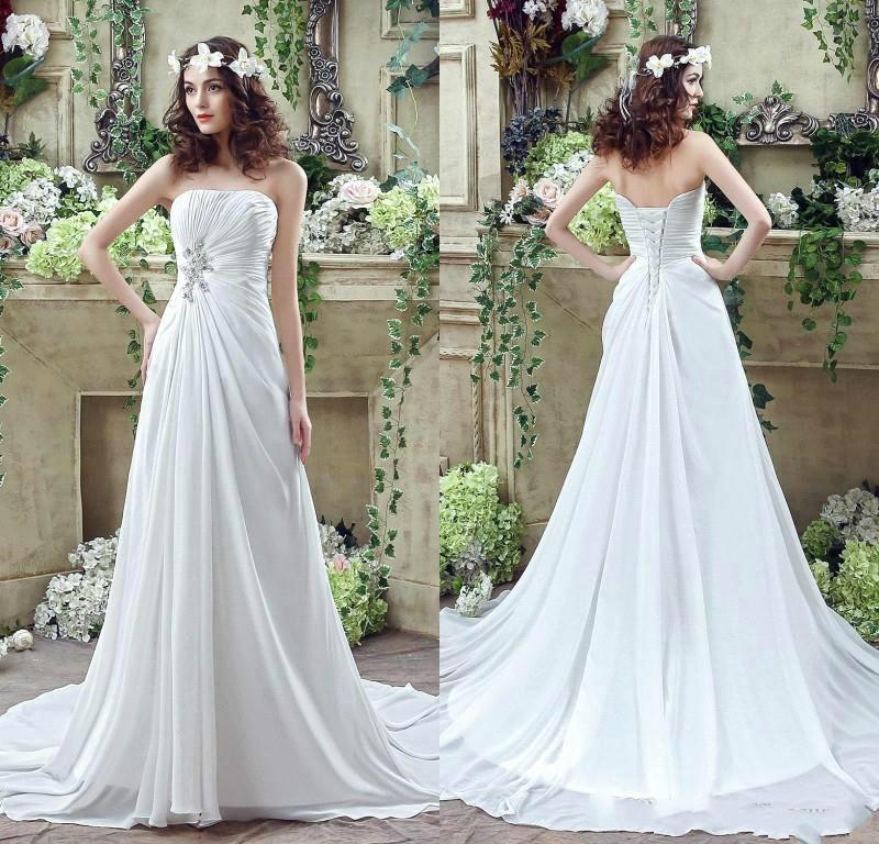 2016 spring chiffon wedding dresses strapless crystal for Cheap simple wedding dresses