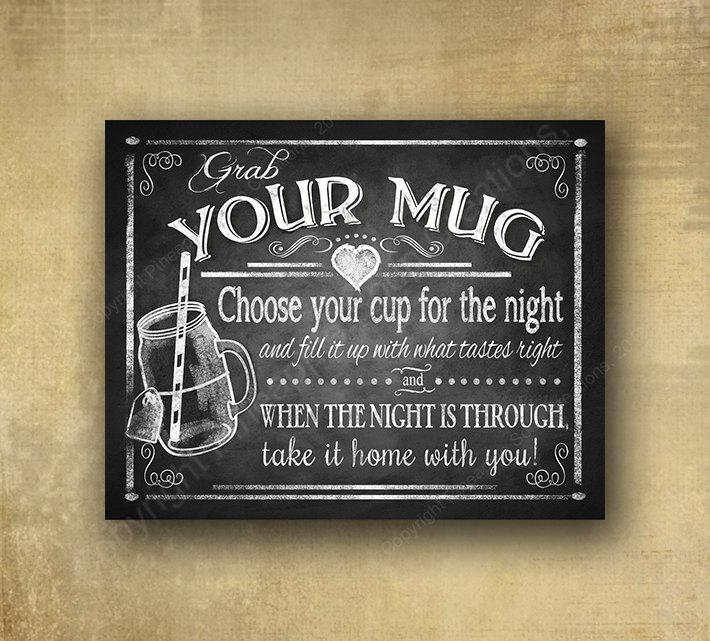 """Mariage - Printed """"Grab your Mug"""" glass jar wedding favor sign - chalkboard signage - 3 sizes available with optional add ons"""