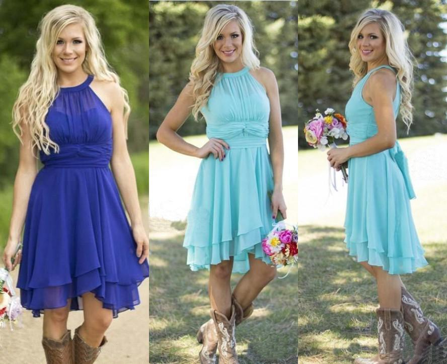2016 Hot Country Style Turquoise Bridesmaid Dresses Crew Neck Ruffled Chiffon Mini Dress Beach Wedding Party Online With 80 63 Piece On