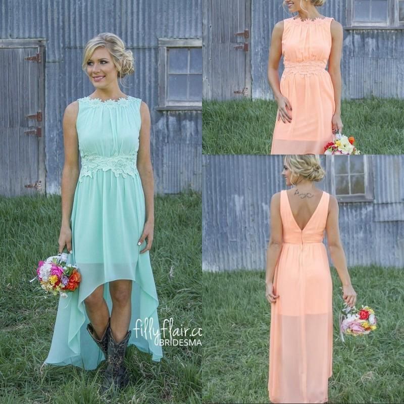 2016 High Low Country Bridesmaid Dresses Lace Mint Orange Modest ...