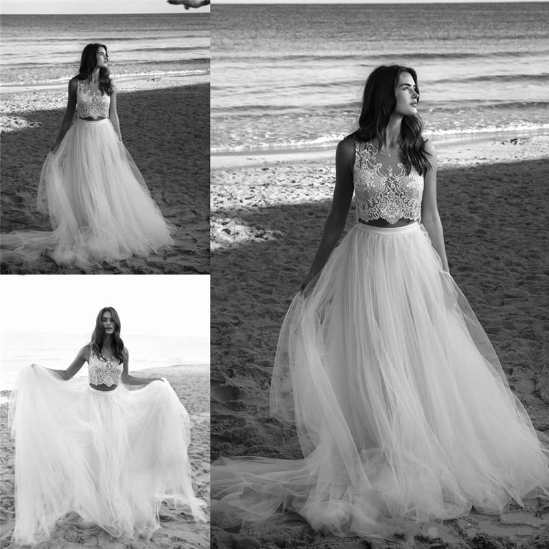 Wedding - Spring Garden Lihi Hod Two Pieces Lace Wedding Dresses 2016 Jewel Neckline Sweep Train Bridal Ball Gowns Dress Custom Made Sleeveless Online with $101.31/Piece on Hjklp88's Store