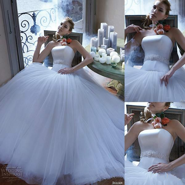 Wedding - Graceful Strapless Wedding Dresses 2016 Sleeveless White A-Line Fitted Beaded Sash Tulle Bridal Ball Gowns Custom Chapel Train Online with $106.03/Piece on Hjklp88's Store