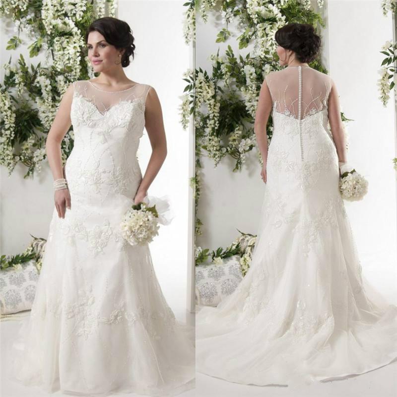 elegant plus size white wedding dresses sheer scoop illusion