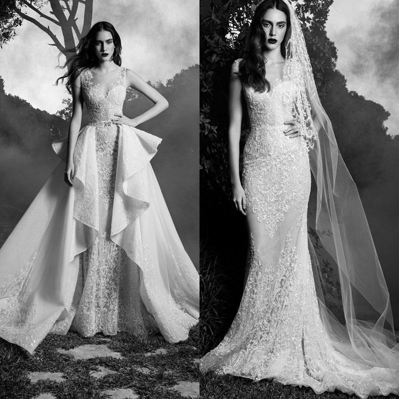 e82a46297d70f Beautiful 2016 Zuhair Murad Lace Wedding Dresses With Overskirt V Neck  Bridal Ball Gown With Detachable Train Chapel Length Princess Online with  ...