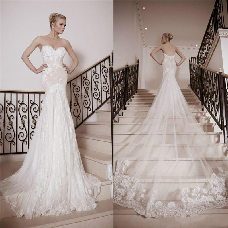 Vintage Naama Anat Full Lace Wedding Dresses With Train