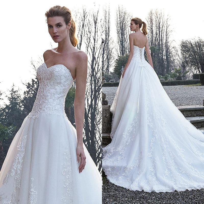 White Wedding Dresses With Lique Lace Beads Sweetheart 2016 Court Train A Line Bridal Ball Gowns Up Back Online