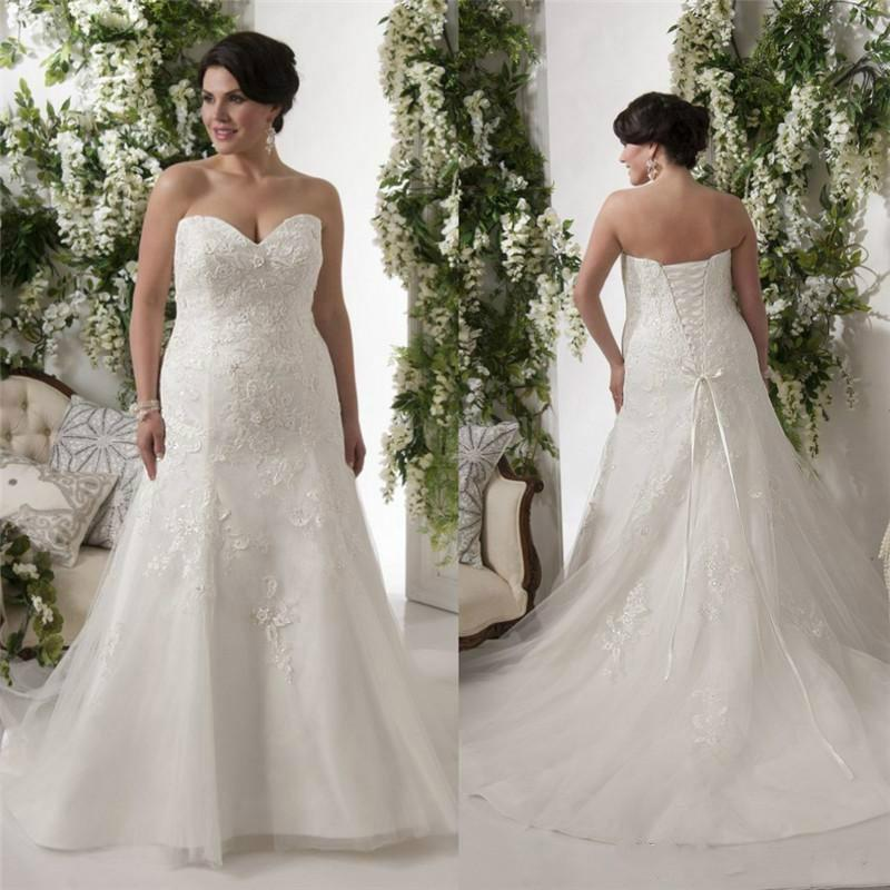 Elegant plus size wedding dresses bodice applique lace for Lace wedding dresses plus size