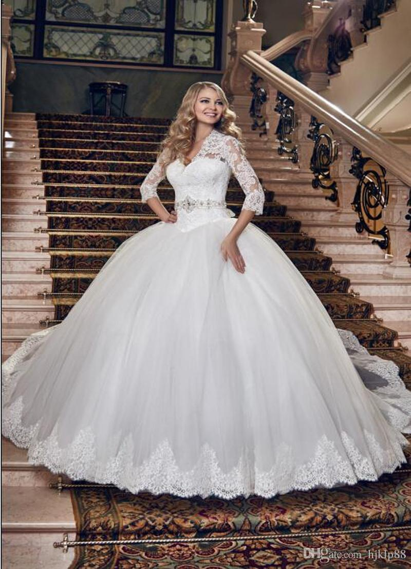 New arrival 3 4 long sleeve beaded sash wedding dresses for Long sleeve beaded wedding dress