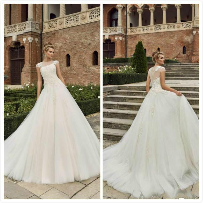 2016 Plus Size Country Sheer Wedding Dresses Cap Sleeves