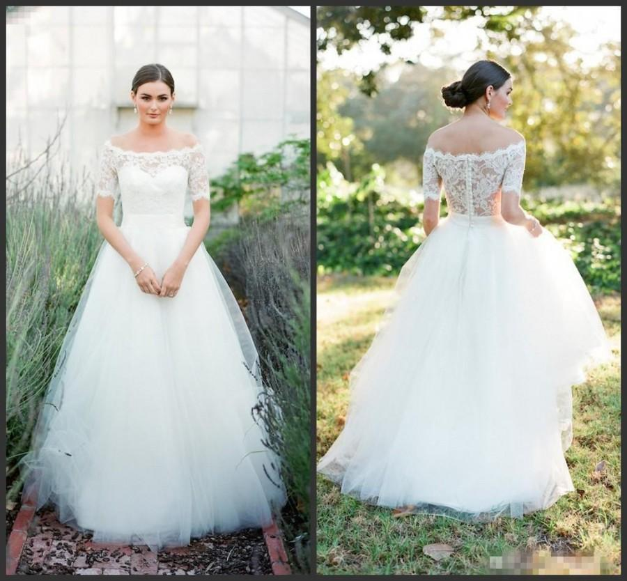 Princess country wedding dresses off shoulder 2016 half for Wedding dresses with half sleeves