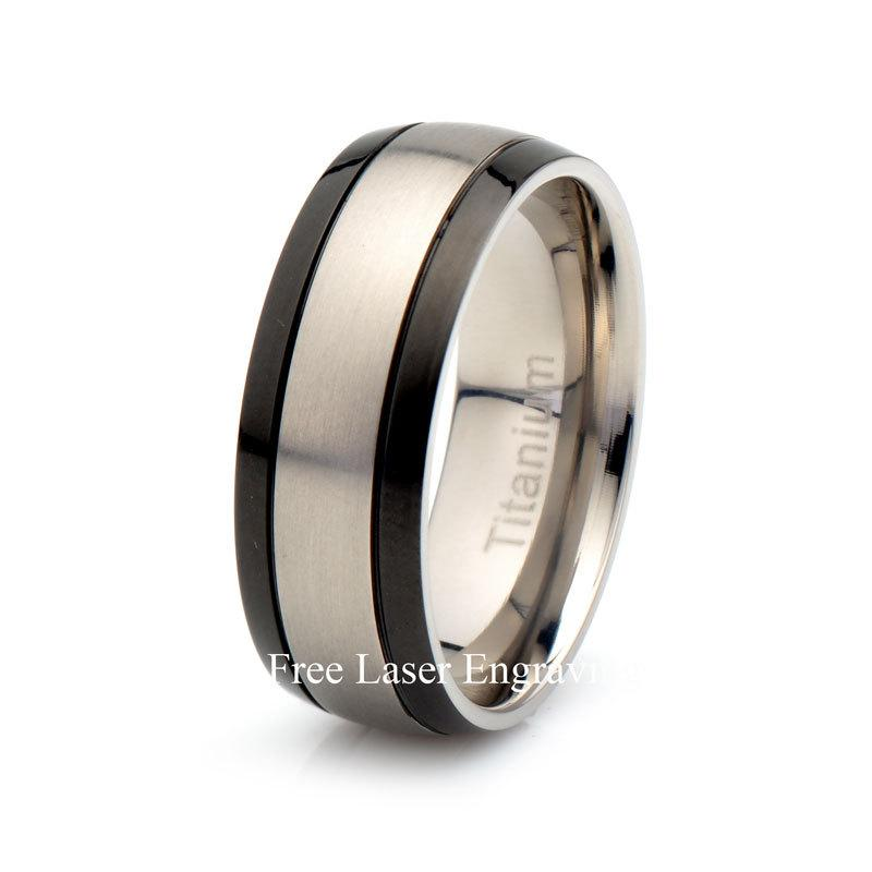 Mens Titanium Black Wedding Band Brushed Domed Ring Anniversary Rings Men Women
