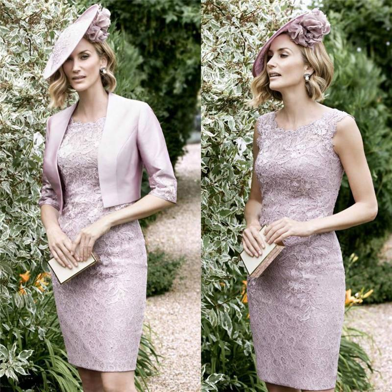 Elegant Lace Mother Of The Bride Dresses With Wrap Scoop Neckline 2016 John Charles Mothers Formal Wear Knee Length Online 102 4 Piece