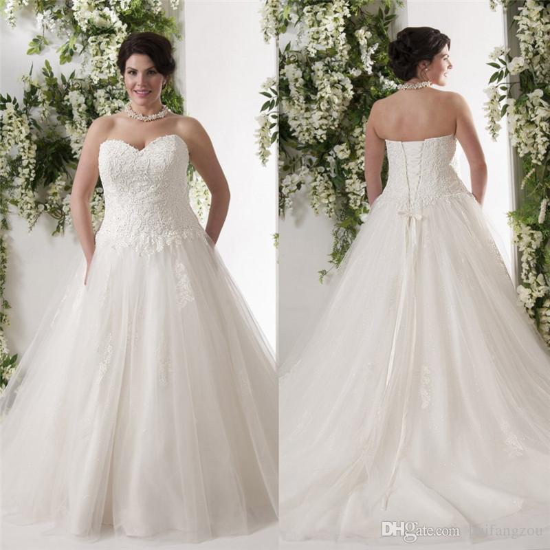 New Arrival Lace Wedding Dresses Sweetheart Neckline 2016 A Line Up Back Bridal Gowns Chapel Length Plus Size Ball Online With 107 6 Piece On