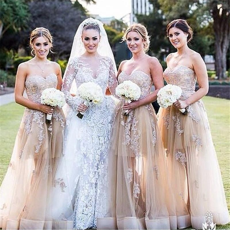 Pretty Applique Bridesmaid Dresses 2016 Sweetheart Neckline Floor