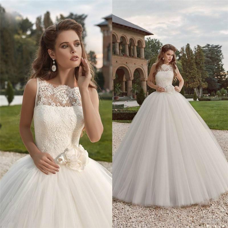 Vintage Lace Wedding Dresses 2016 Fall Sheer Bateau Neckline Full ...