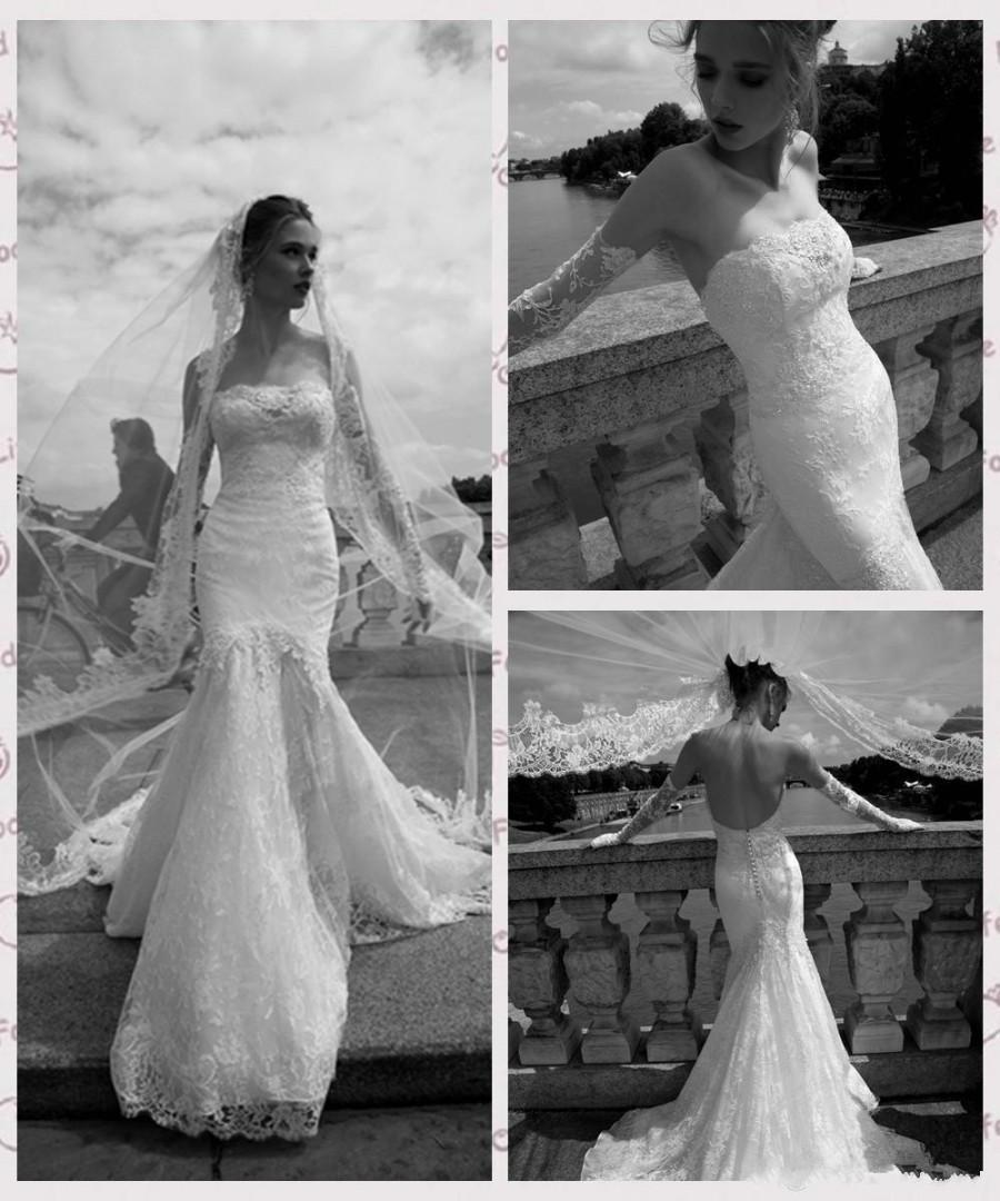 Свадьба - Fashion White Lace Mermaid Wedding Dresses 2016 Full Appliques Sequins Strapless Neckline Bridal Gowns Lace Court Train Wedding Gowns Online with $108.38/Piece on Hjklp88's Store