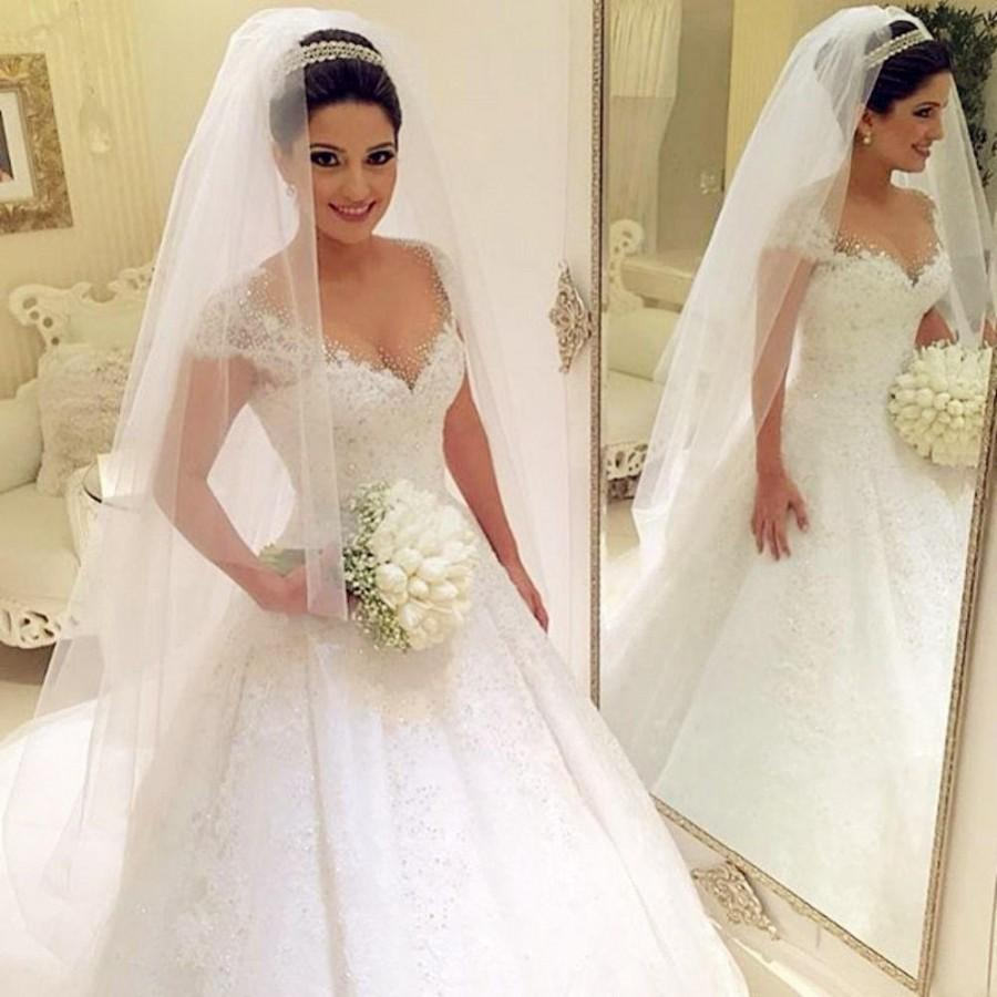 Wedding - Real Image Arbic Plus Size Sequins Lace Wedding Dresses A Line Applique Beads Tulle Bridal Ball Gowns Cap Sleeves Robe De Marriage Online with $122.52/Piece on Hjklp88's Store