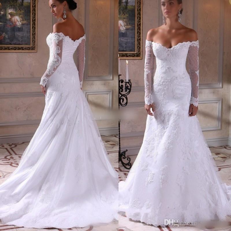 Sexy full lace long sleeve wedding dresses illusion off for Shop online wedding dresses